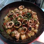 gnocchi aux calamars frais et pistou
