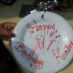 Daughters birthday plate, less the eaten cake