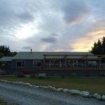 Sunrise over the lodge.