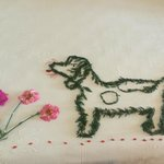 Our maid did a flower design of our dog from a photo we showed her