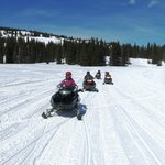 Snowmobiling on the open prairie