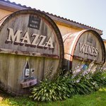Mazza Wines barrels in front of the winery on Route 5