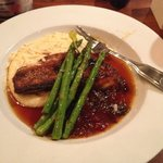 Cobia with stone ground cheese grits with asparagus