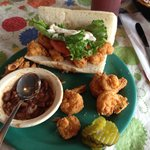 Shrimp po' boy with red beans and rice