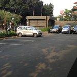 Wide parking area