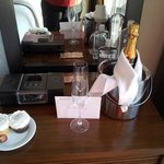 Champagne and cupcakes for our birthdays, compliments of Eventi