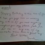Birthday wishes from Sarah, staff at Eventi