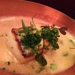Braised halibut with miso butter.