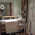 Glass doors into shower area