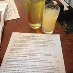 Menu and a cider plus a cider mixed drink