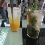Lemon quench and iced green tea with mint