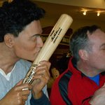 Ted Williams and me kissing our bats