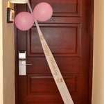 Girls Happy BIrthday sign on their door. Nice touch.