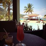 Looking out to the pool and beach bar