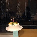 The wonderful view and birthday cake Dorsett Mongkok provided us with.