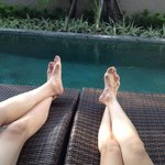 Relaxing by our private pool