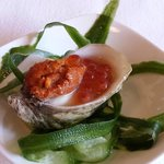 Hopscotch - Yonsei Oyster with sea urchin and salmon roe with citrus soy