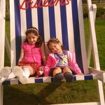 My daughters enjoying the famous giant deckchair.