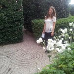 Our daughter in the Japanese garden onto which her suite opened