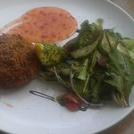 Roasted and Smoked Salmon Fishcake, sweet chilli sauce and dressed salad...