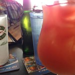 Tropical rum punch and local beer