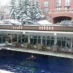 Great clean heated outdoor pool. View to slopes.