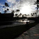 Por do sol nas piscinas
