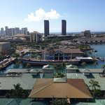 View from Aloha Tower of Maritime Museum and Falls of Clyde (closed)