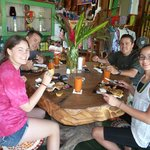 Freddy enjoying casados with our family during our overnight excursion to Arenal Volcano