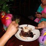 Demolishing the birthday brownie!
