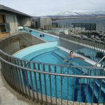 40 degree pool with a view of the lake and hills
