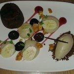 Chocolate fondant, peanut butter sorbet and banana