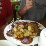 Potatoes with homemade jerk bbq sauce.