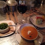 From L to R: local seaweed salad, tomato bisque, and locally sourced crab cake w/ no fillers wha