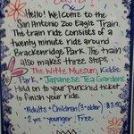Sign describing ride