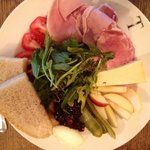 Ploughman's with Westcombe cheddar, ham, pickles, bread & salad