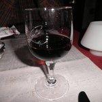 Enjoying a glass of red sweet wine!