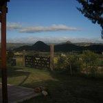 Vista desde la puerta de la cabaña