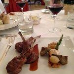 Lamb with polenta, artichoke, garlic and oinon entree