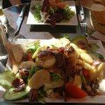 fois groie salad. opposite smoked salmon starter