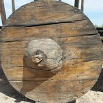 Huge wooden wheel