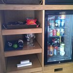 Some of the free amenities and the mini bar