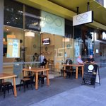 Ad Infinitum cafe on ground floor at Meriton Apartments. Open every day :)