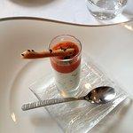 Amuse bouche of tomato and chèvre. Yumm!