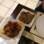 sweet and sour pork and beef noodles