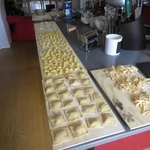 Lots of pastas made by our group from scratch.