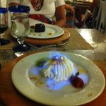 Baked Alaska aflame at the Steakhouse