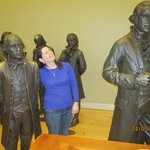 "Delegate Statues: Madison-- the shortest at 5'4"" & Washington--the tallest at 6'4"".  I am 5'2"""