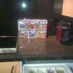 Nespresso coffee machine and breakfast packs