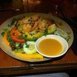 Salad with avocado, shrimp, corn and mango